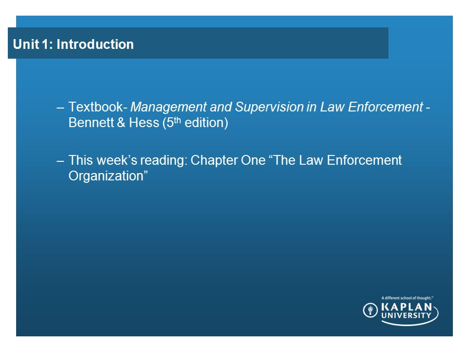 intro to law enforcement class
