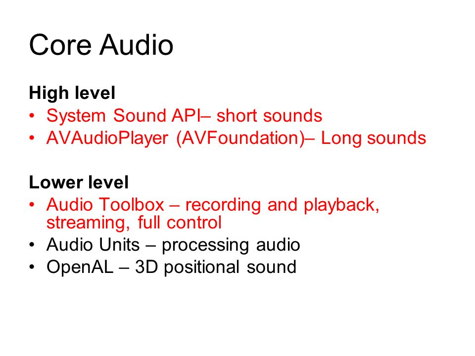 Audio Yu Feng CGDD Review 1  Set up 2  IOS sound – Core Audio