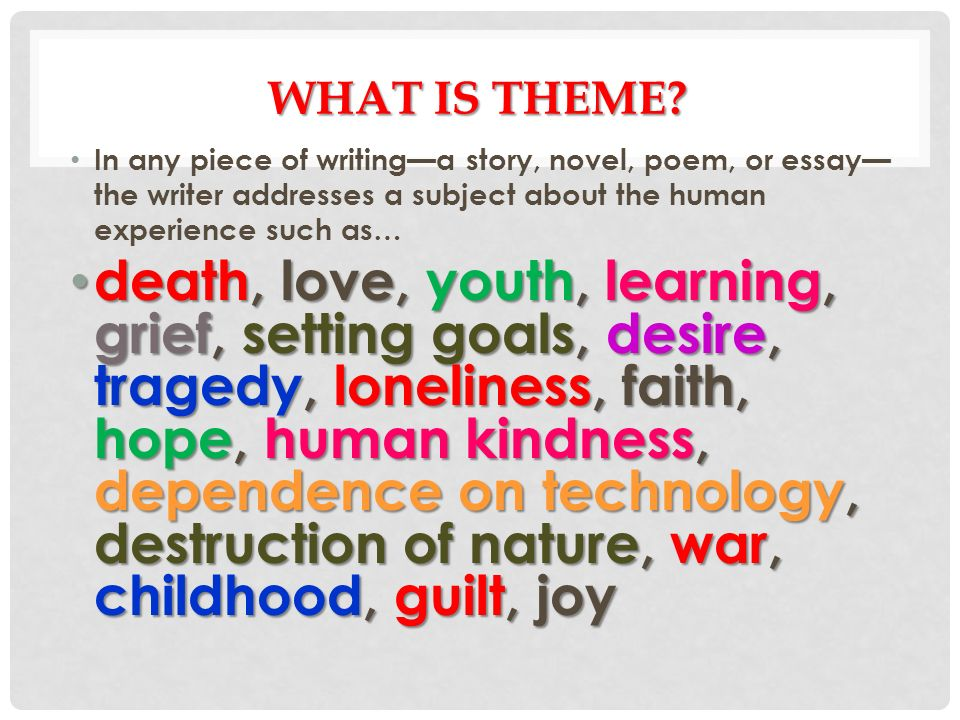 GATSBY THEME  WHAT IS THEME? In any piece of writing—a story