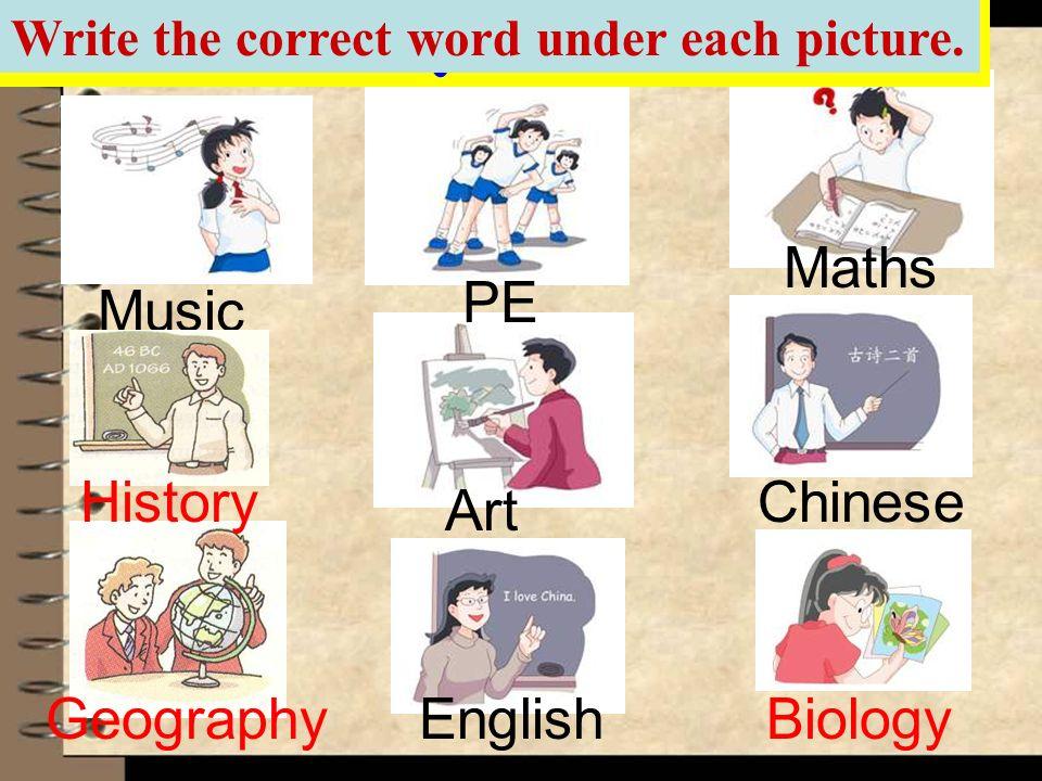 2 Art Biology Chinese Maths Music PE