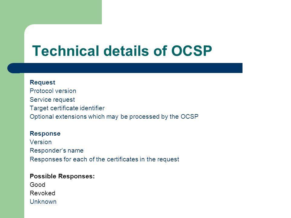 Online Certificate Status Protocol 'OCSP' Dave Hirose July