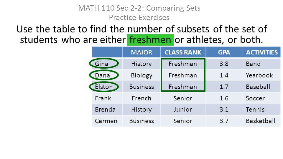 MATH 110 Sec 2-2: Comparing Sets Practice Exercises. - ppt download