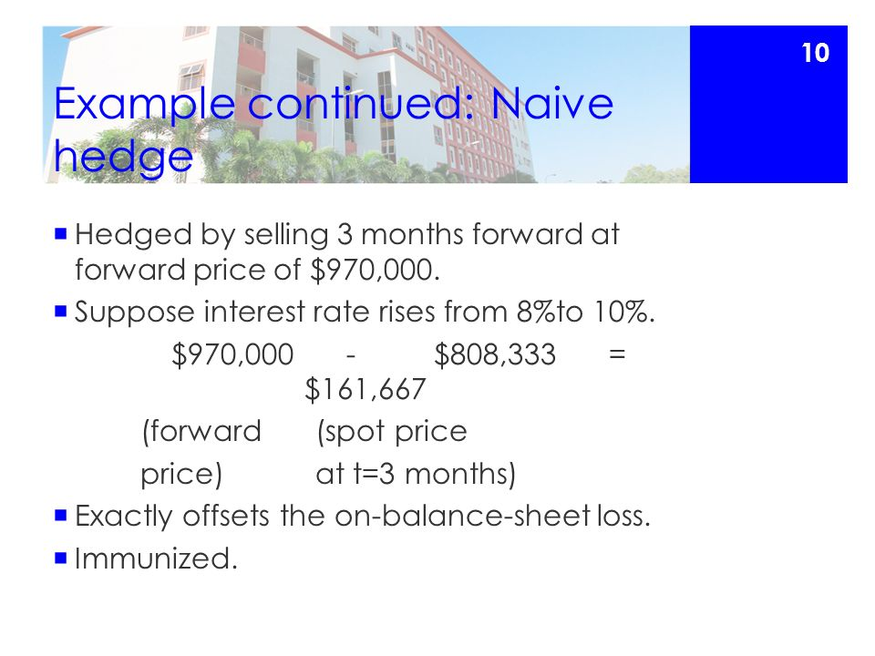 Example continued: Naive hedge  Hedged by selling 3 months forward at forward price of $970,000.