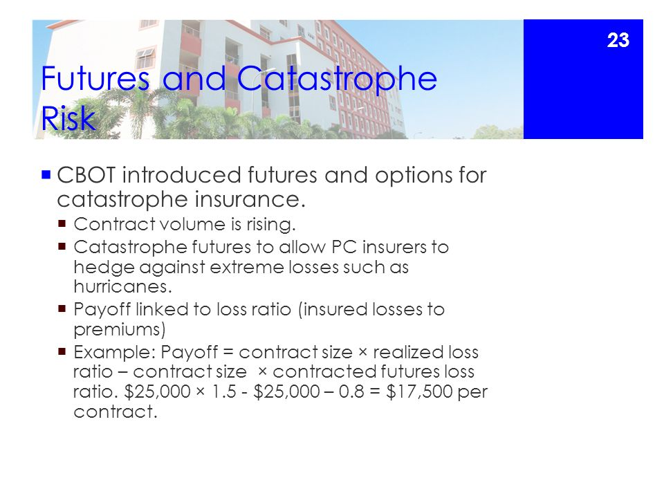 Futures and Catastrophe Risk  CBOT introduced futures and options for catastrophe insurance.