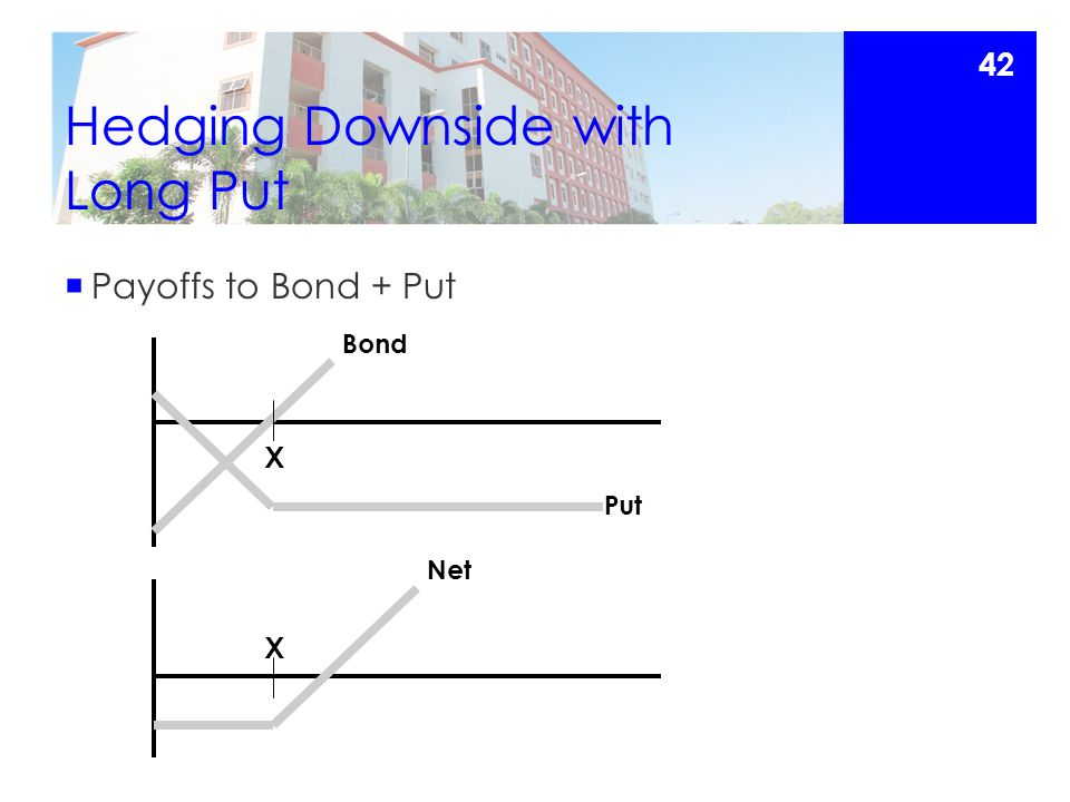 Hedging Downside with Long Put  Payoffs to Bond + Put X X Put Bond Net 42