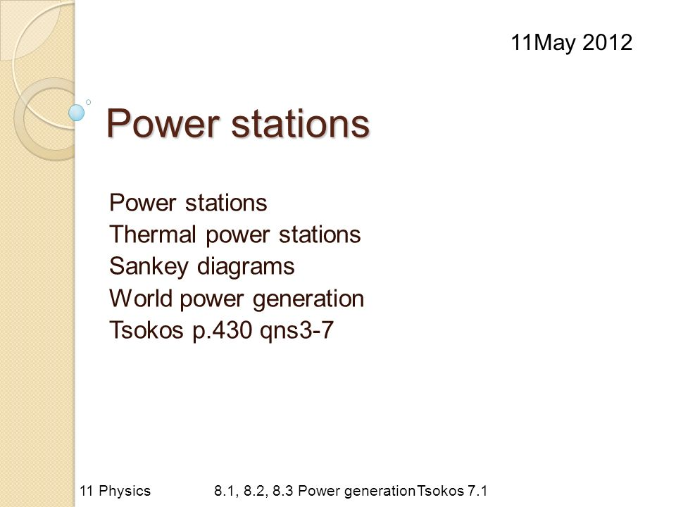 Power stations Thermal power stations Sankey diagrams World power generation Tsokos p.430 qns3-7 11May Physics8.1, 8.2, 8.3 Power generationTsokos 7.1