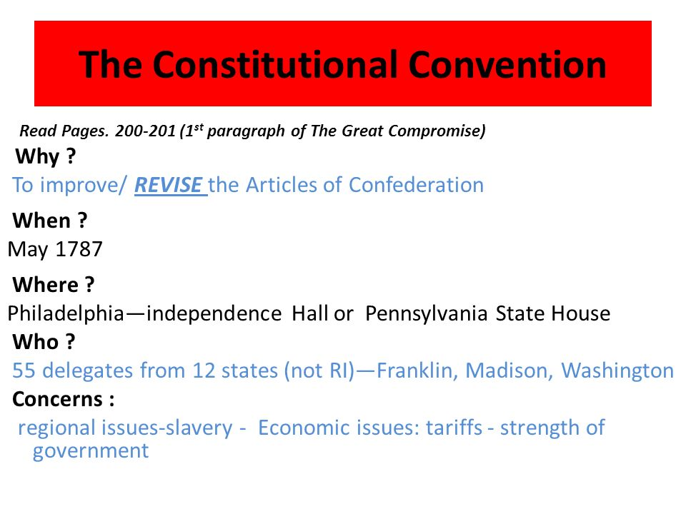 What was the result of these problems A Call for a Constitutional Convention: