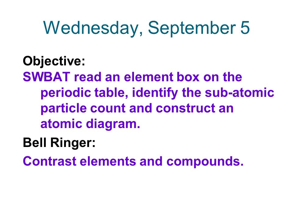 Wednesday September 5 Objective Swbat Read An Element Box On The