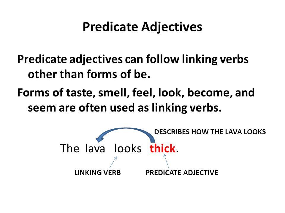 lesson 2 predicate adjectives. a predicate adjective: follows a