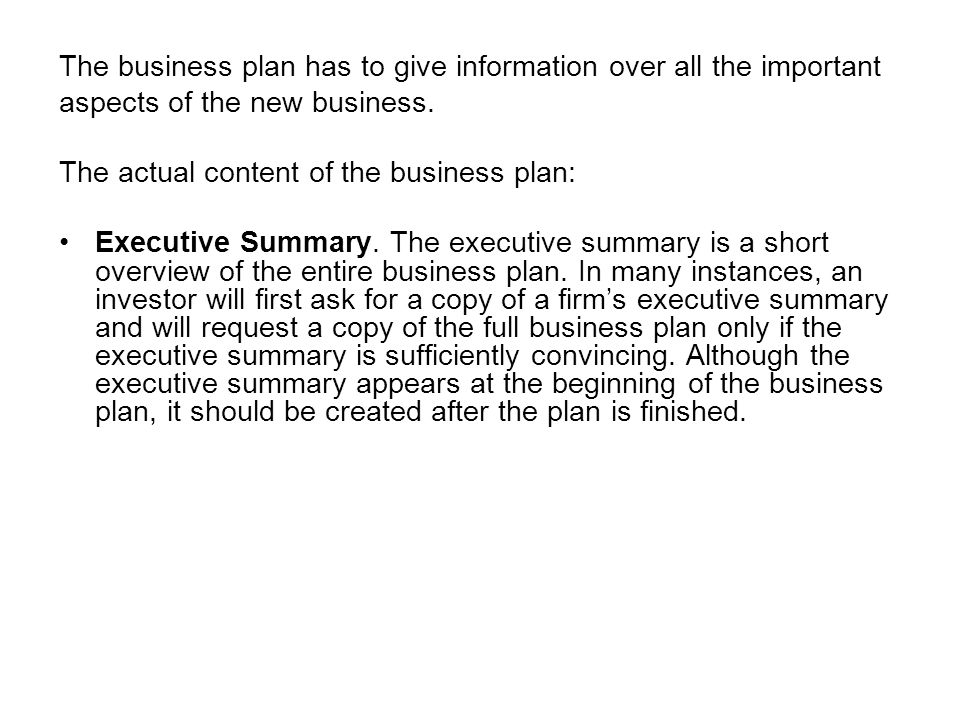 chapter 6 writing a business plan why a business plan is important