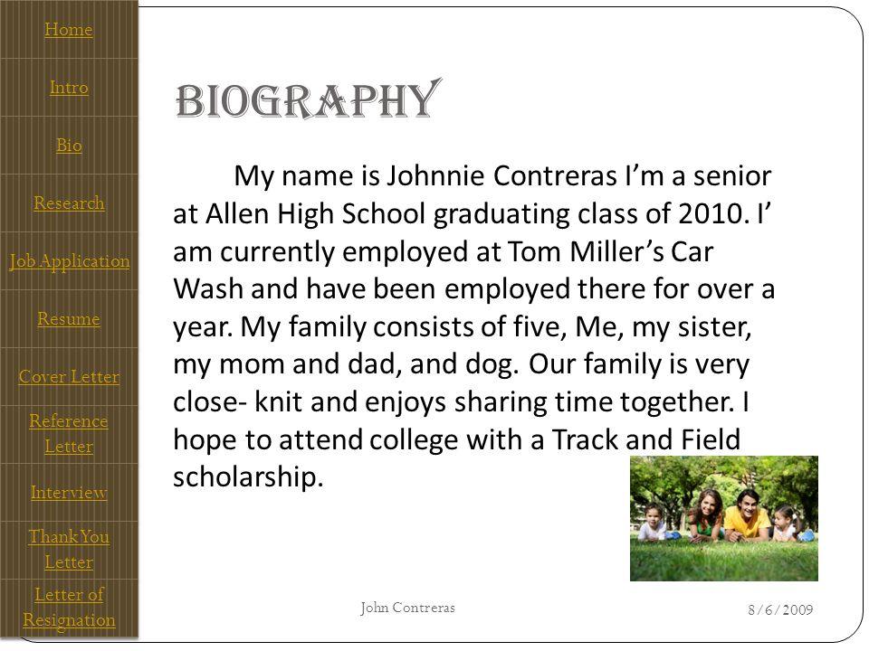 My E-Portfolio John Contreras Allen High School Home Intro