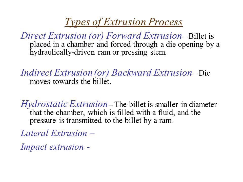 Extrusion and Drawing of Metals  Introduction Extrusion – It