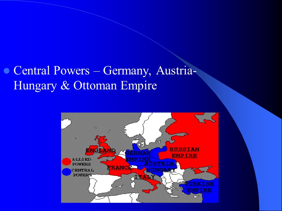 Central Powers – Germany, Austria- Hungary & Ottoman Empire