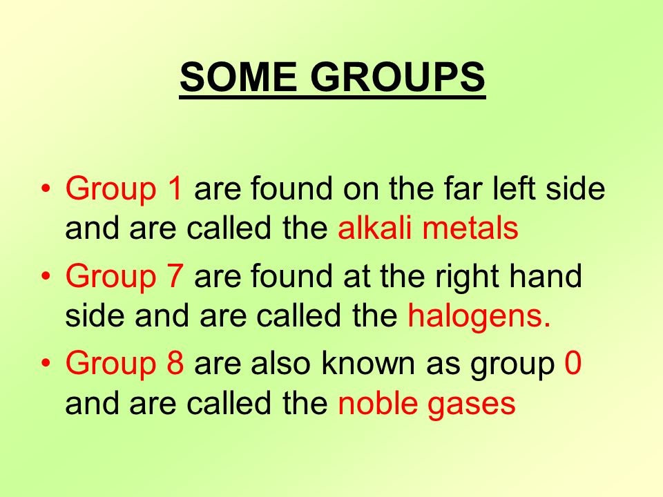The periodic table objectives to be able to identify groups and some groups group 1 are found on the far left side and are called the alkali urtaz Gallery