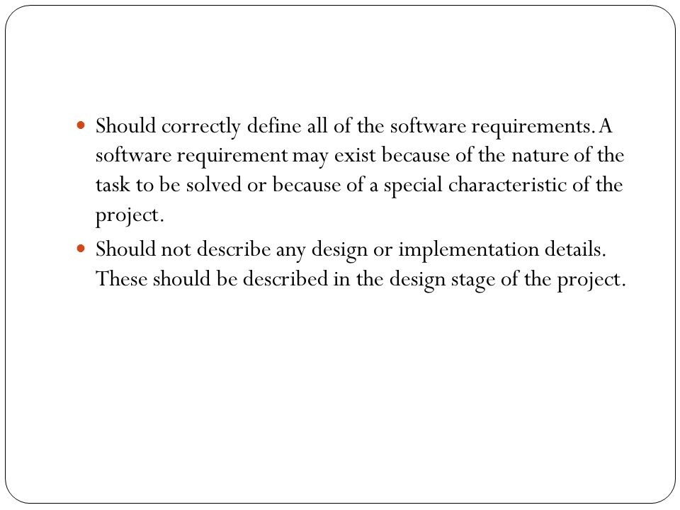 CONTENTS OF THE SRS REPORT Software Requirements Specification SRS - User requirement specification template