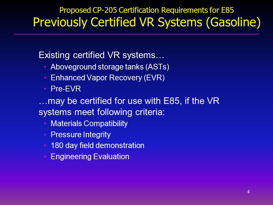 4 4 ...  sc 1 st  SlidePlayer & Vapor Recovery Requirements for E85 Dispensing Facilities Meeting to ...