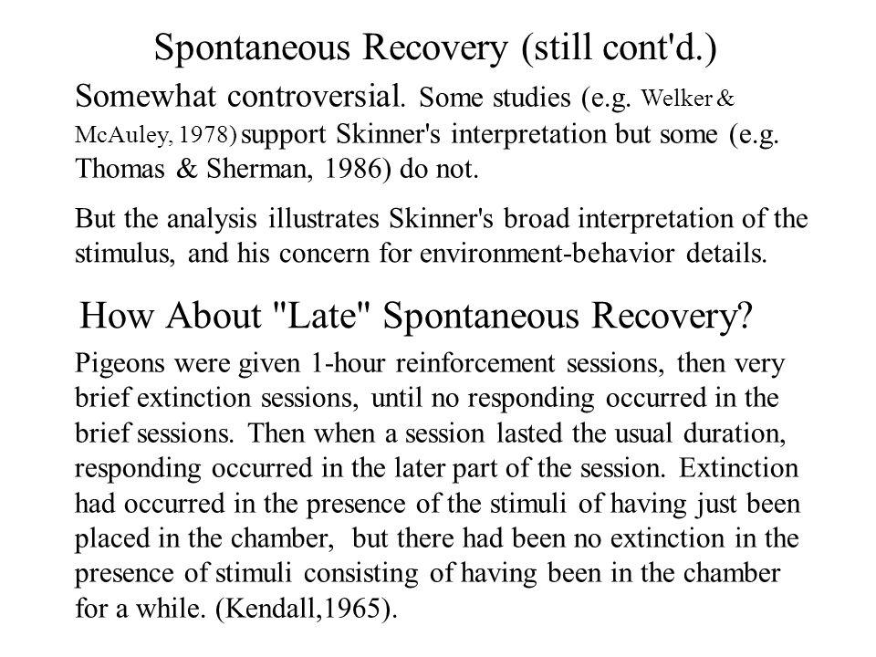 spontaneous recovery a skinnerian interpretation by jack michael