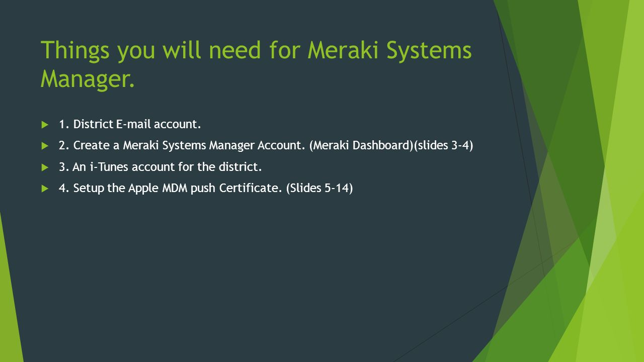 Welcome to Meraki Free Mobile Device Management By David