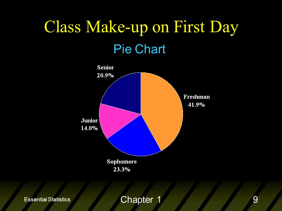 Essential Statistics Chapter 19 Pie Chart Class Make-up on First Day