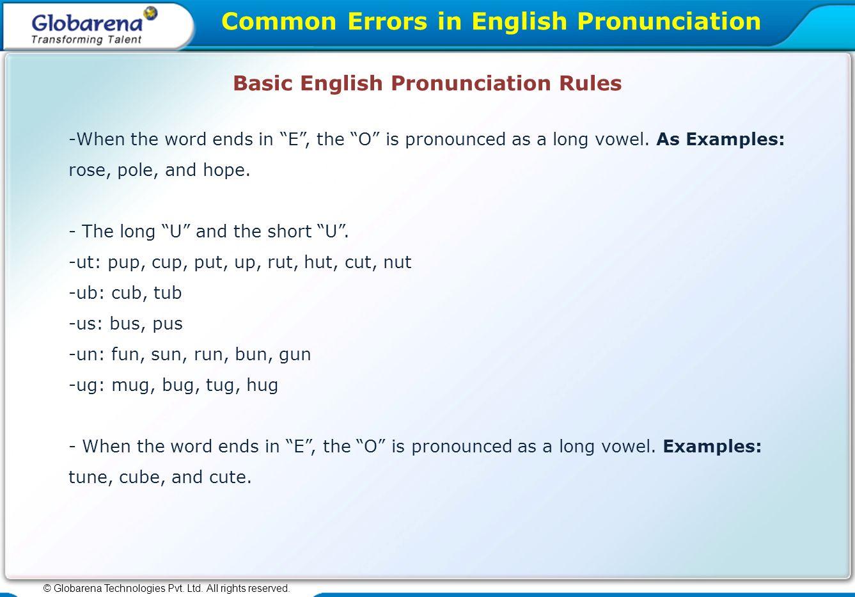 Common Errors In English Pronunciation C Globarena Technologies