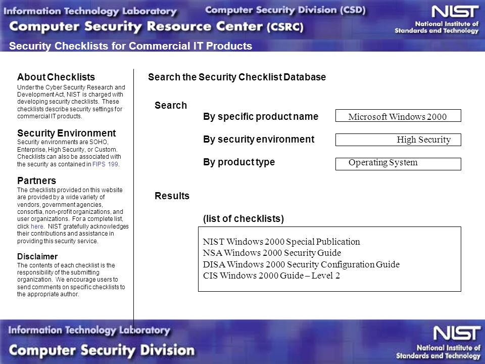 Security Checklists for IT Products  Agenda Overview of Checklist