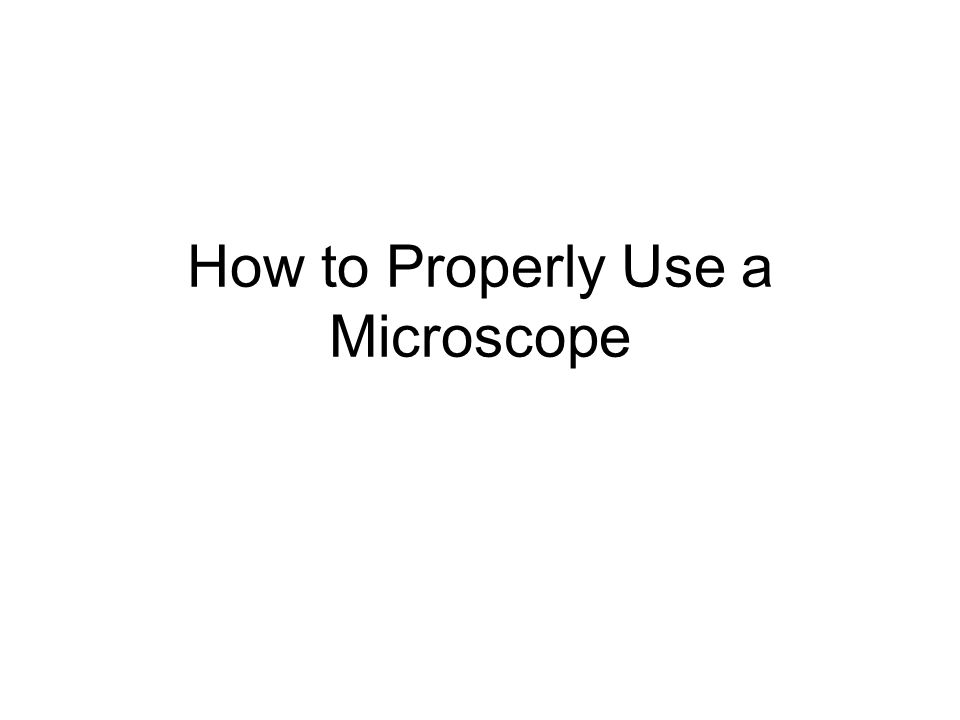 How to Properly Use a Microscope