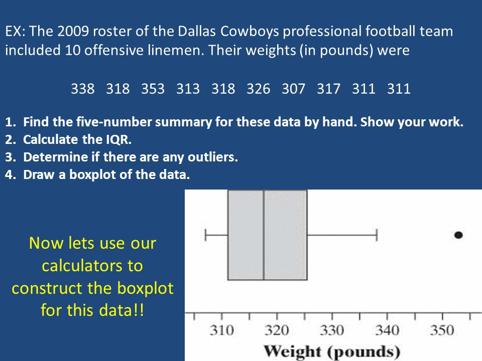 EX: The 2009 roster of the Dallas Cowboys professional football team included 10 offensive linemen.