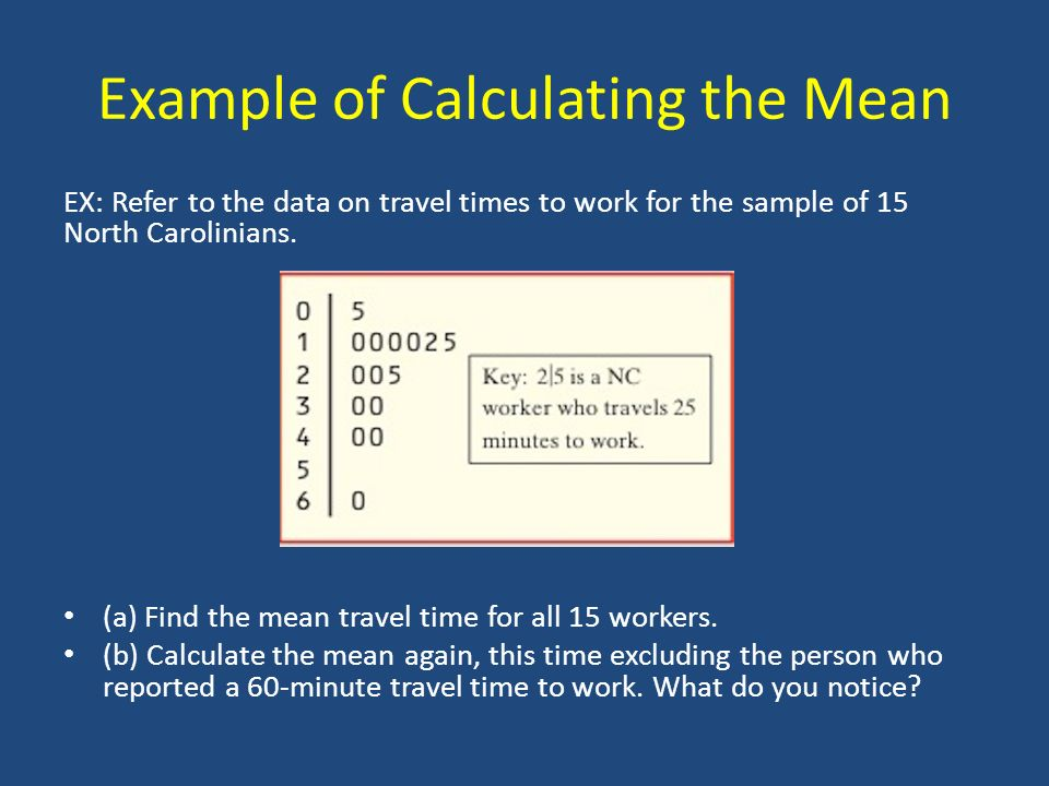 Example of Calculating the Mean EX: Refer to the data on travel times to work for the sample of 15 North Carolinians.