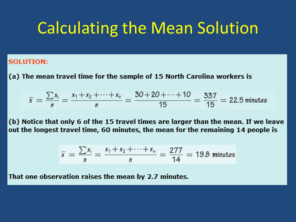 Calculating the Mean Solution