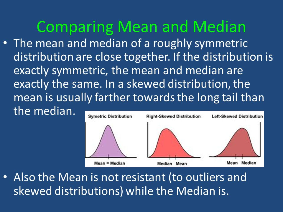 Comparing Mean and Median The mean and median of a roughly symmetric distribution are close together.