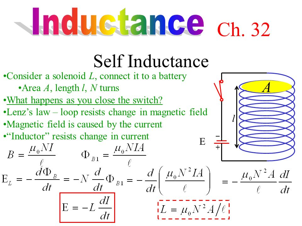 Self Inductance Consider a solenoid L, connect it to a