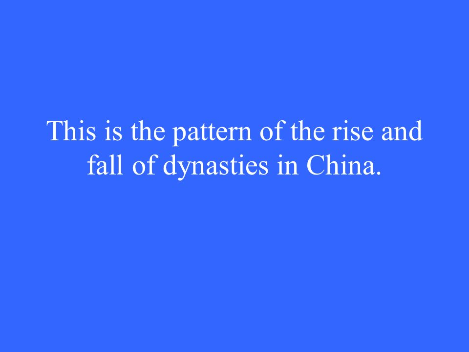 This is the pattern of the rise and fall of dynasties in China.