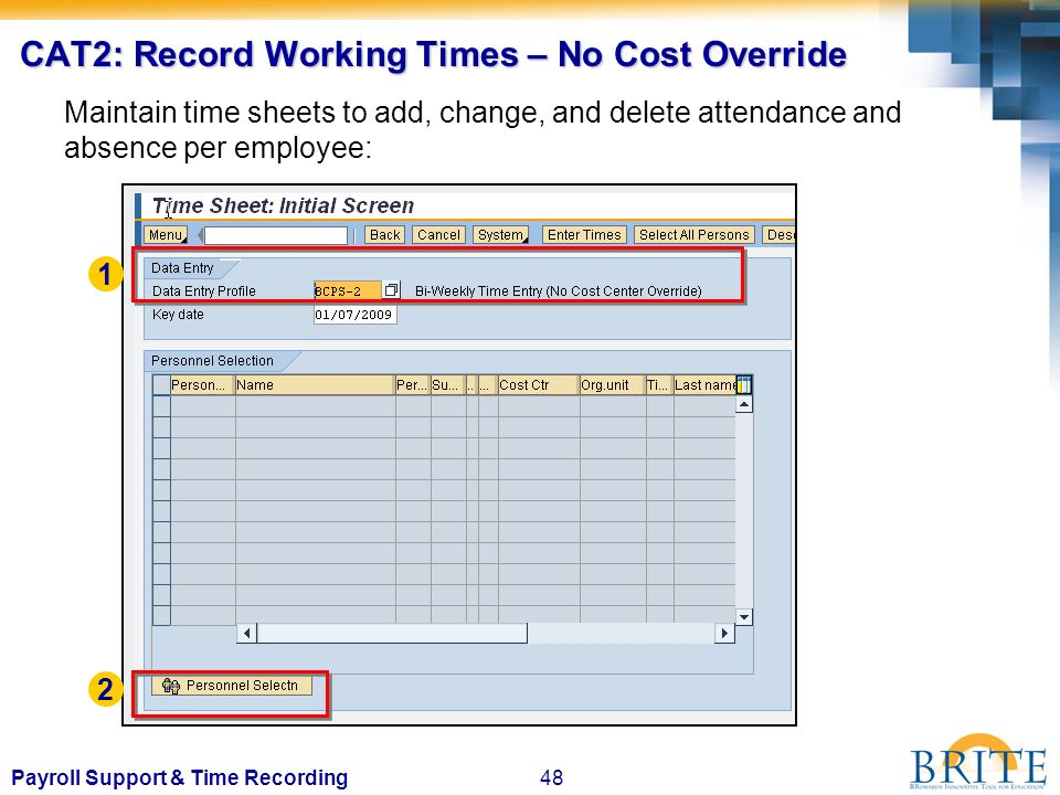0Payroll Support & Time Recording BRITE brings one business