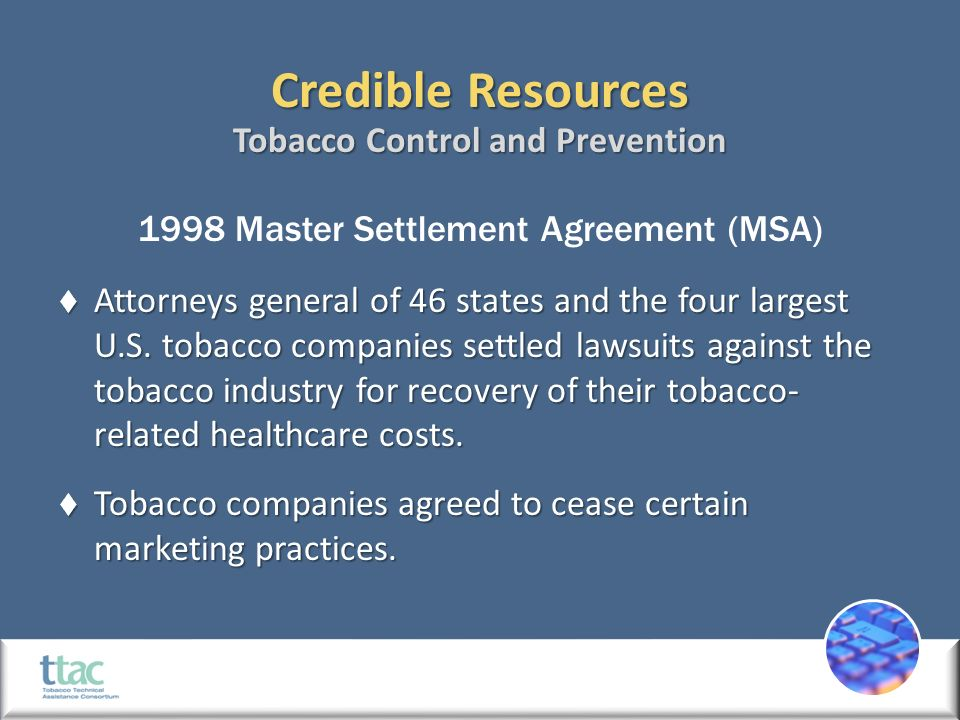 Credible Tobacco Control Resources Credible Resources 1998 Master