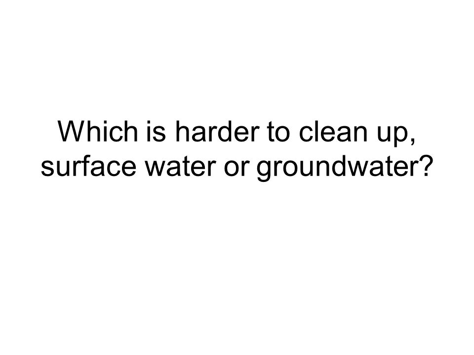 Which is harder to clean up, surface water or groundwater