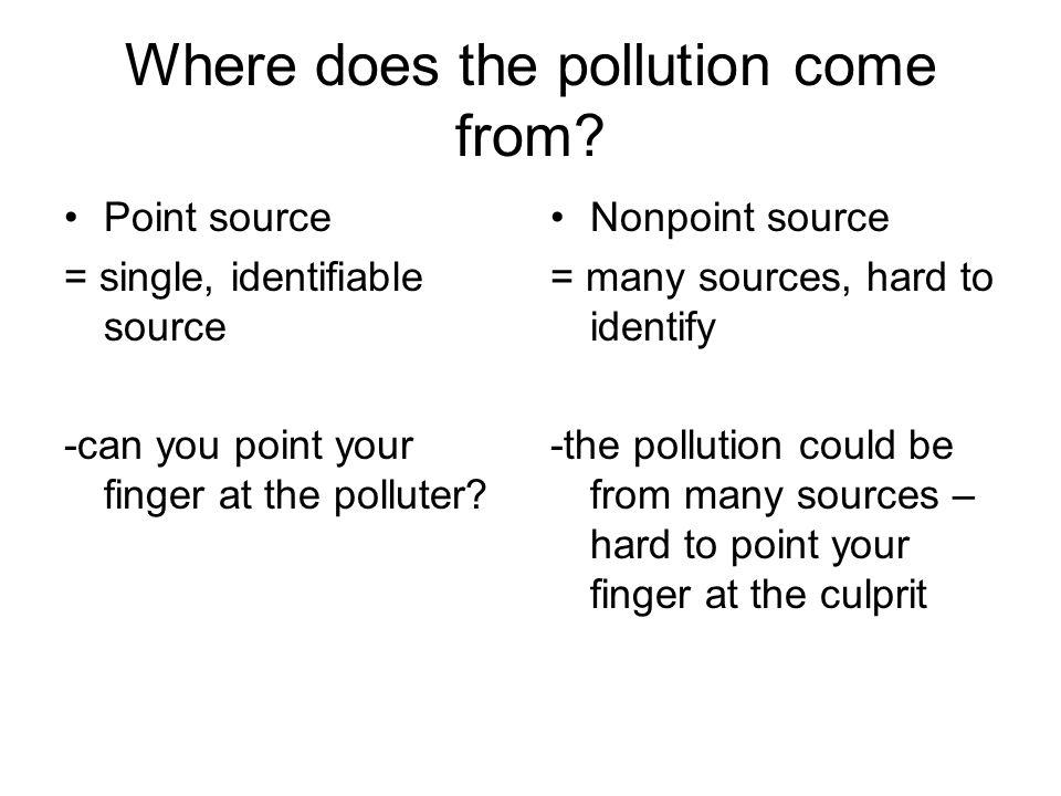 Where does the pollution come from.