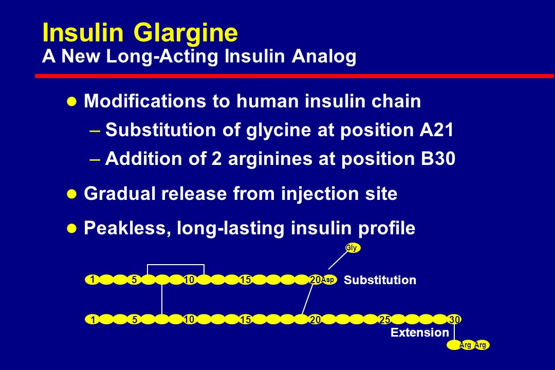 Asp Gly Arg Extension Substitution Arg Insulin Glargine A New Long-Acting Insulin Analog l Modifications to human insulin chain –Substitution of glycine at position A21 –Addition of 2 arginines at position B30 l Gradual release from injection site l Peakless, long-lasting insulin profile
