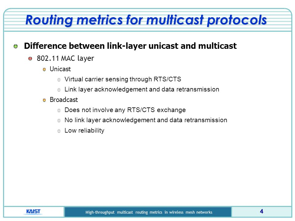 KAIS T High-throughput multicast routing metrics in wireless