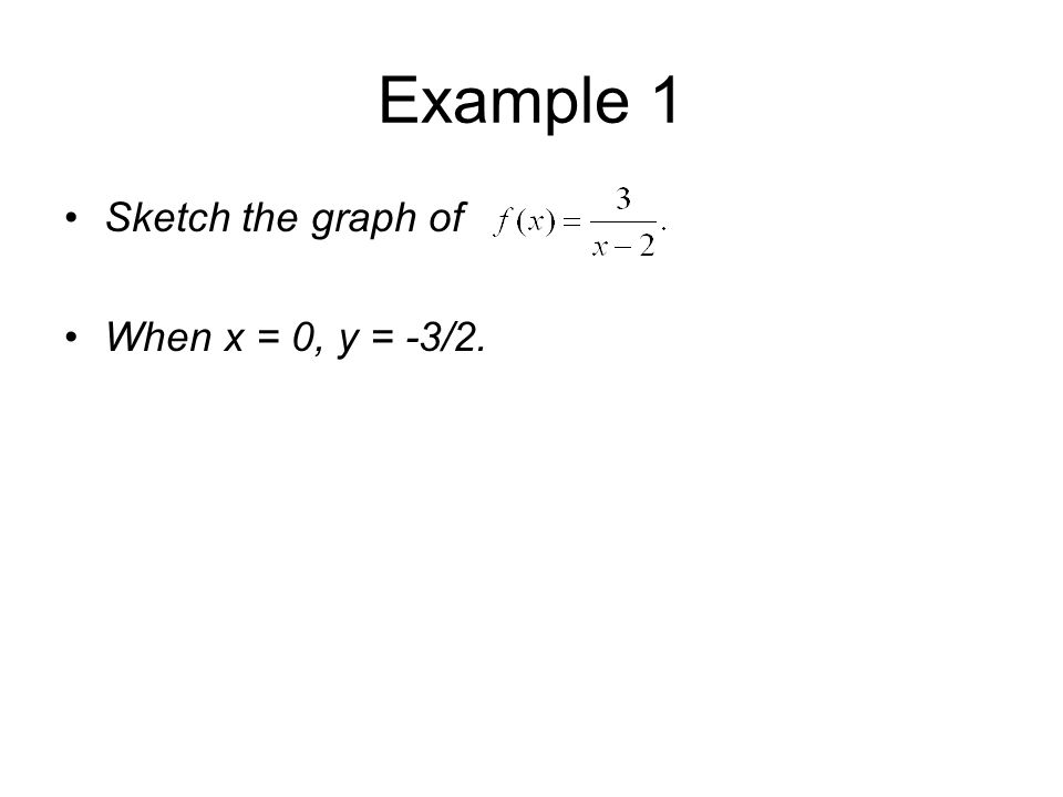 Example 1 Sketch the graph of When x = 0, y = -3/2.