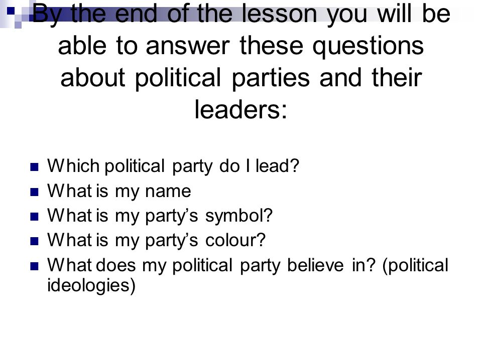 Political Parties 21 St September 2009 Use A Double Page Ppt Download