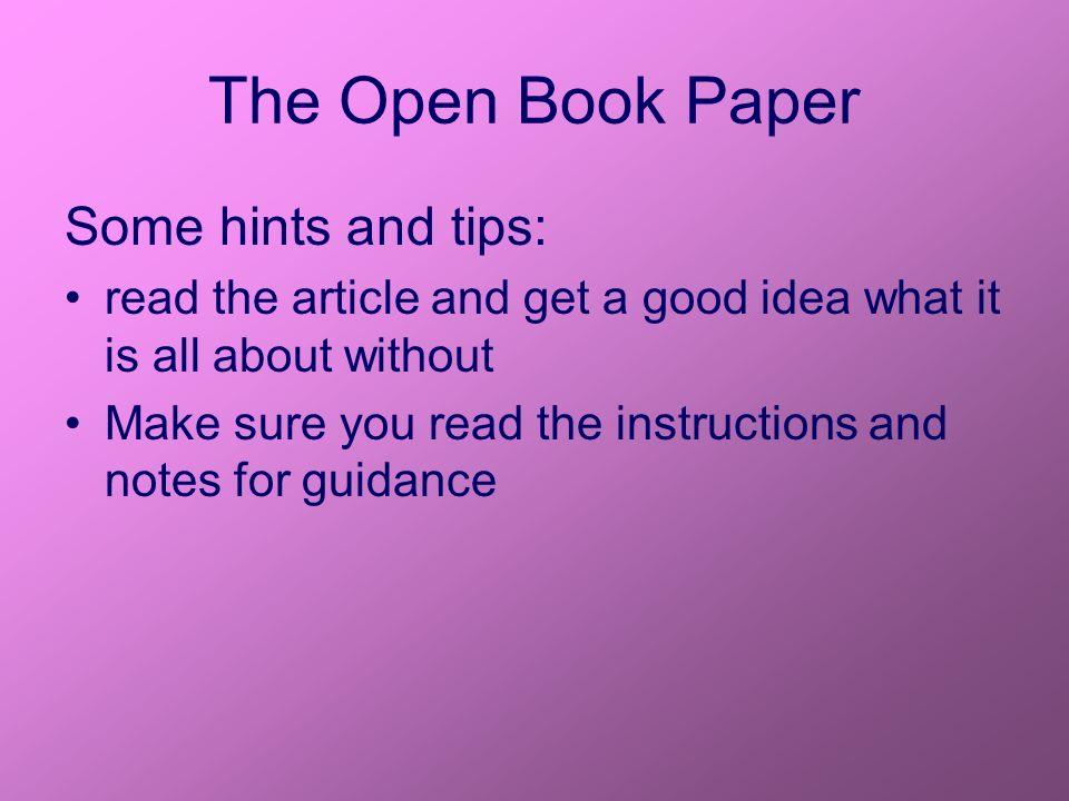 2852/01 – The Open Book Paper  The Open Book Paper This counts as