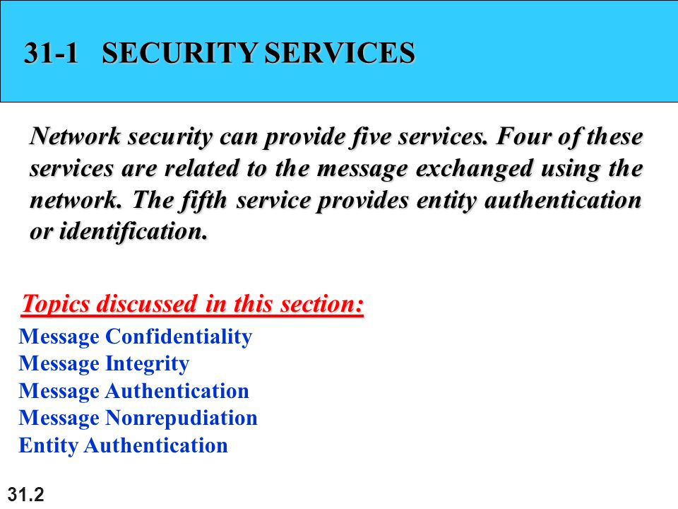 31 1 Chapter 31 Network Security Copyright © The McGraw-Hill