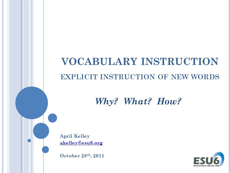 Vocabulary Instruction Explicit Instruction Of New Words Why What