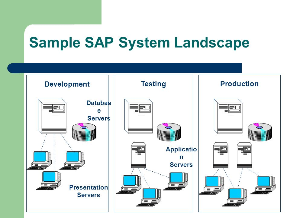 enterprise resource planning dr djamal ziani erp business29 sample sap system landscape development testingproduction databas e servers applicatio n servers presentation servers