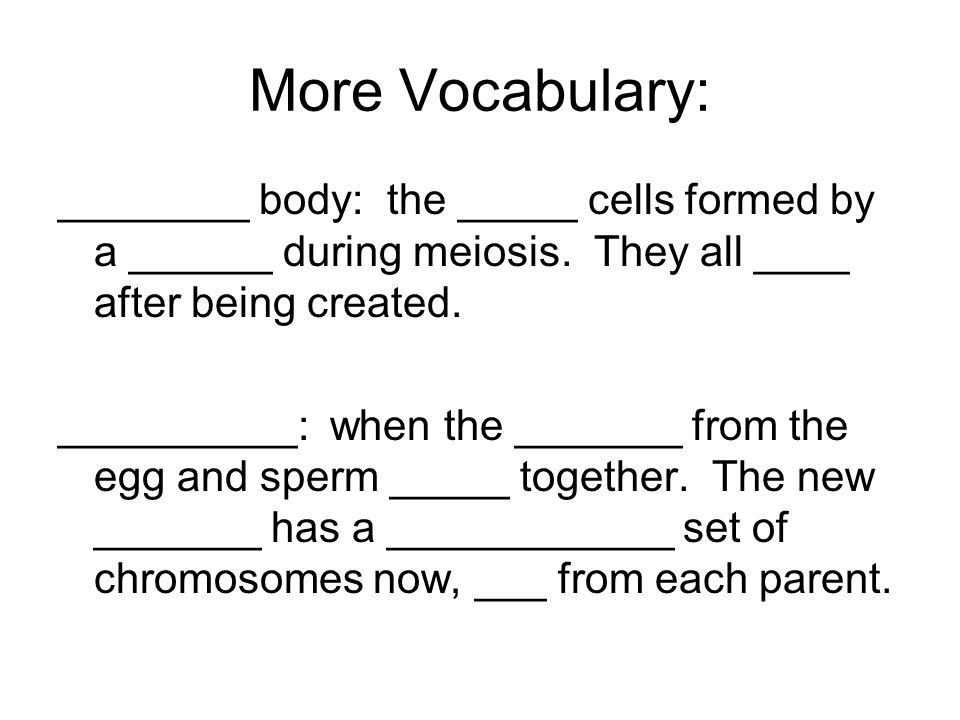 More Vocabulary ________: the stage in life when a person begins to _________ sex cells _______: _______ sex organs that produce _______ ________: female sex organs that produce _______ (a.k.a: ova)