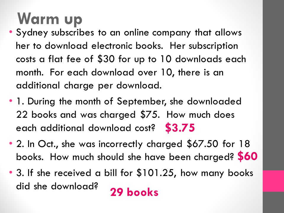 Warm up Sydney subscribes to an online company that allows her to download electronic books.
