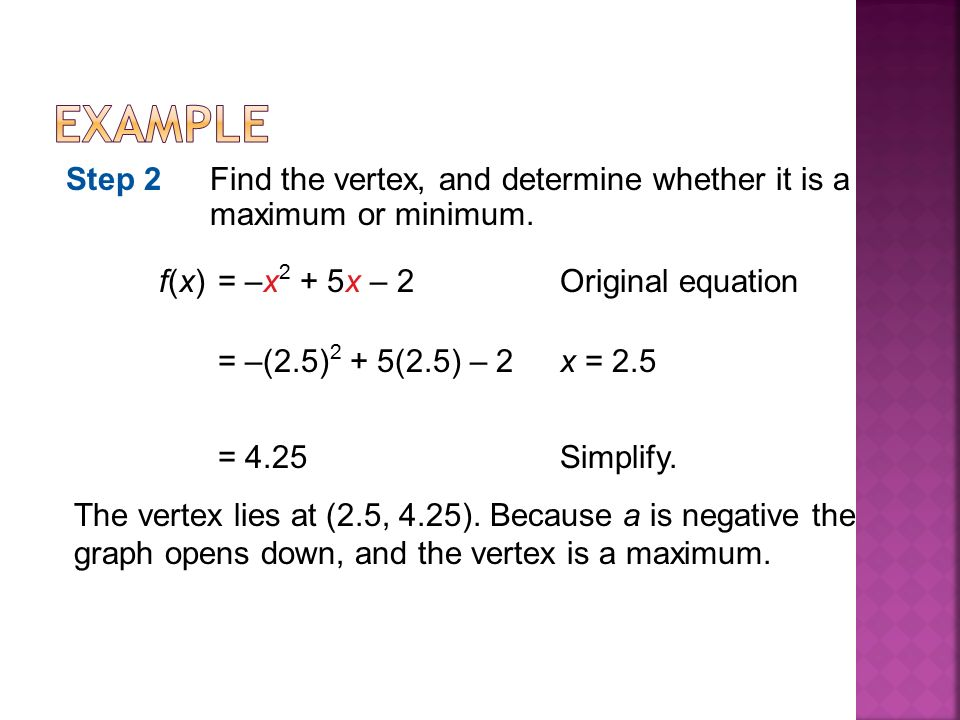 f(x)= –x 2 + 5x – 2Original equation Step 2Find the vertex, and determine whether it is a maximum or minimum.