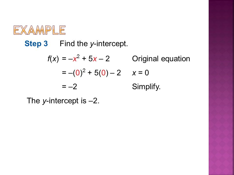 f(x)= –x 2 + 5x – 2Original equation = –(0) 2 + 5(0) – 2x = 0 = –2Simplify.