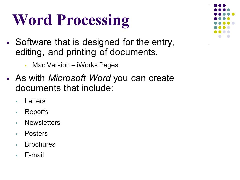 IWorks Pages  Word Processing  Software that is designed for the