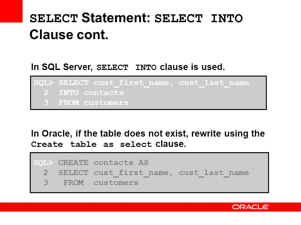 Comparing SQL Server and Oracle Comparing Oracle and SQL Server